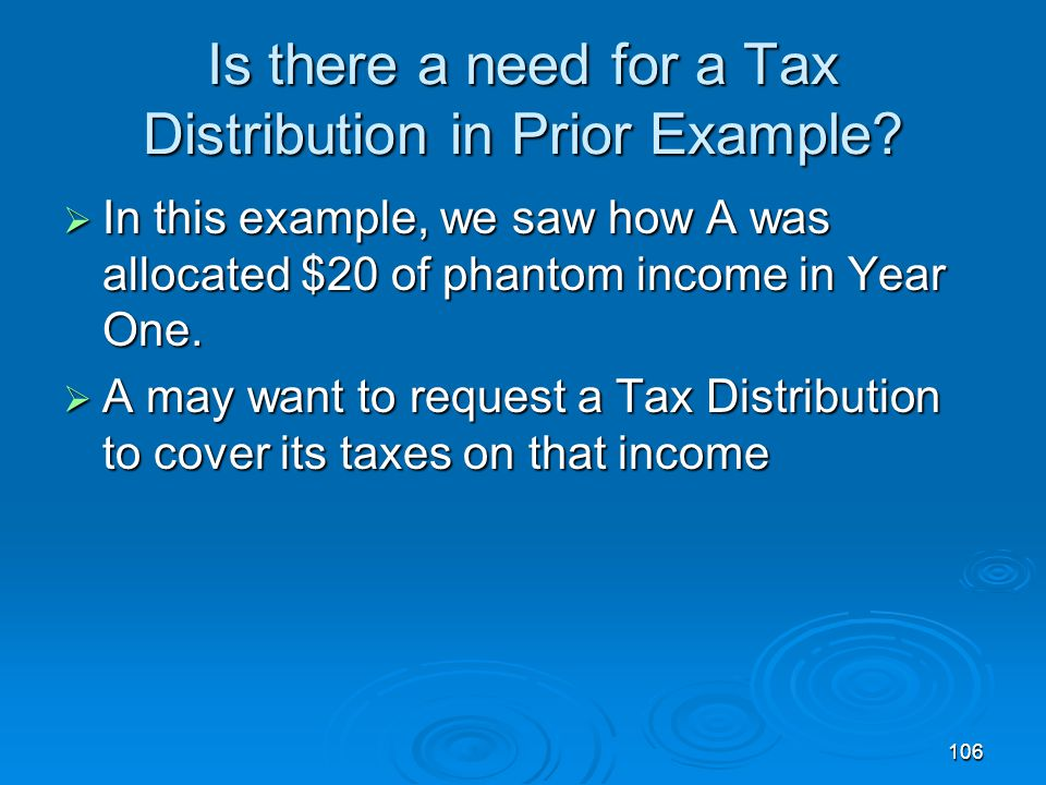 Is there a need for a Tax Distribution in Prior Example