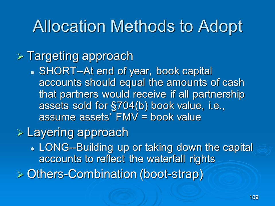 Allocation Methods to Adopt