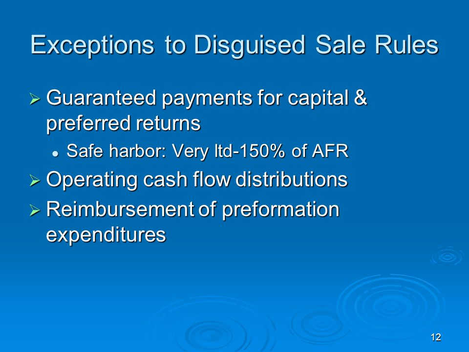 Exceptions to Disguised Sale Rules