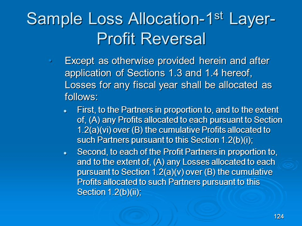 Sample Loss Allocation-1st Layer-Profit Reversal