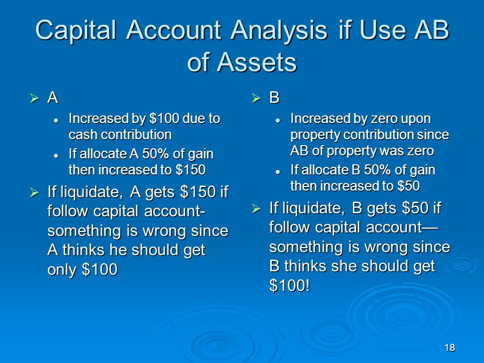 Capital Account Analysis if Use AB of Assets