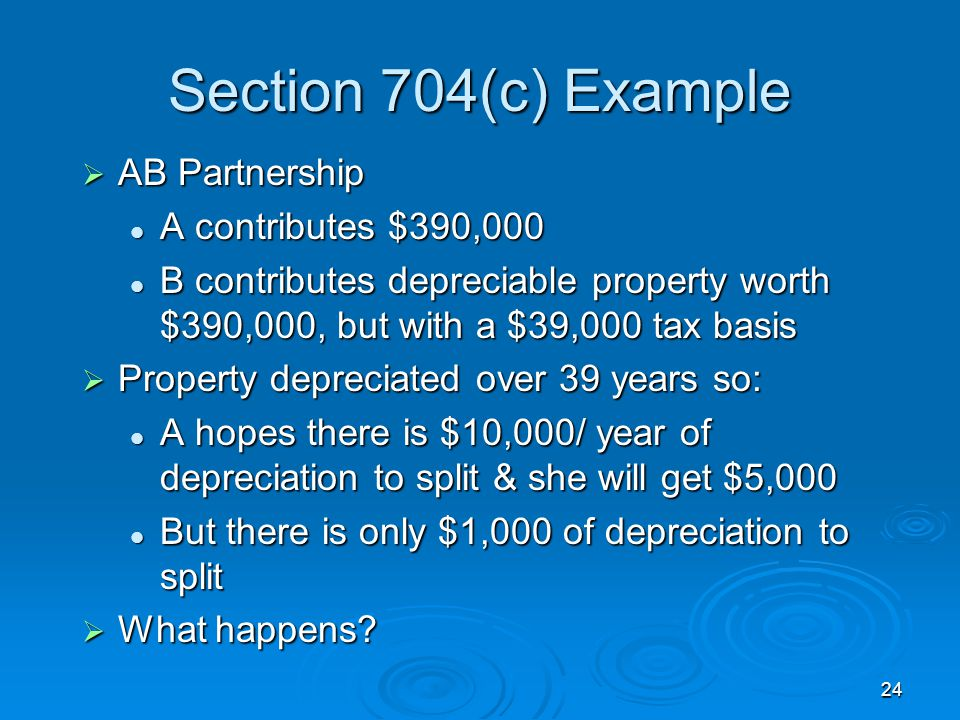 Section 704(c) Example AB Partnership A contributes $390,000