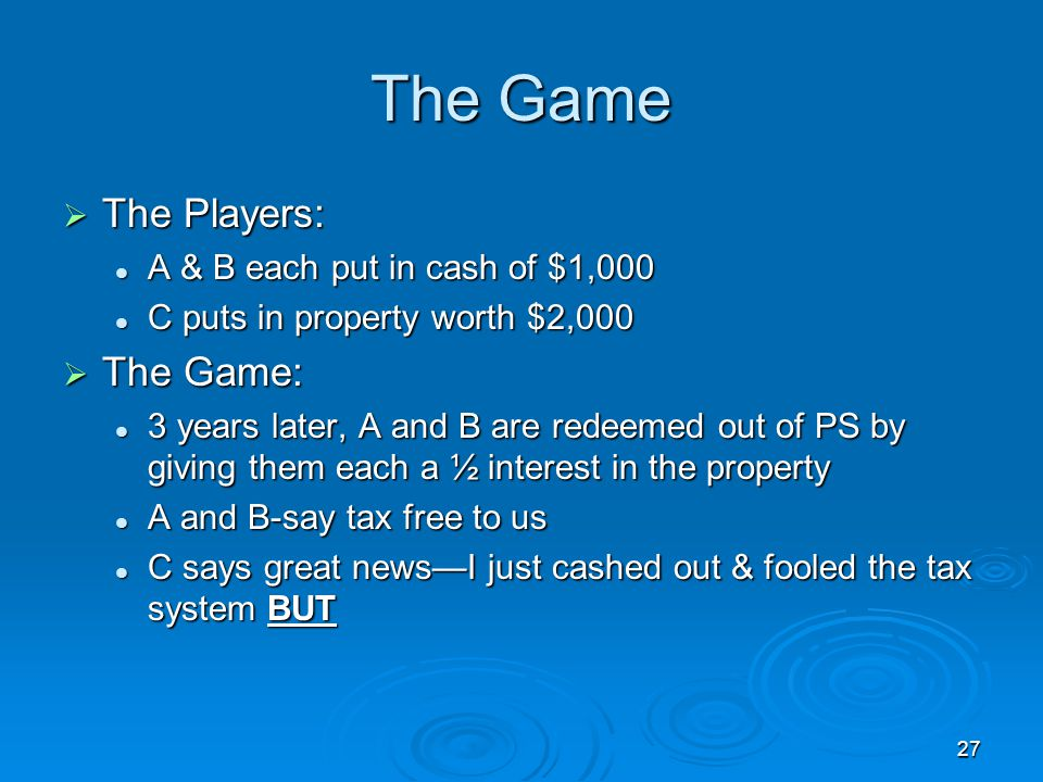 The Game The Players: The Game: A & B each put in cash of $1,000