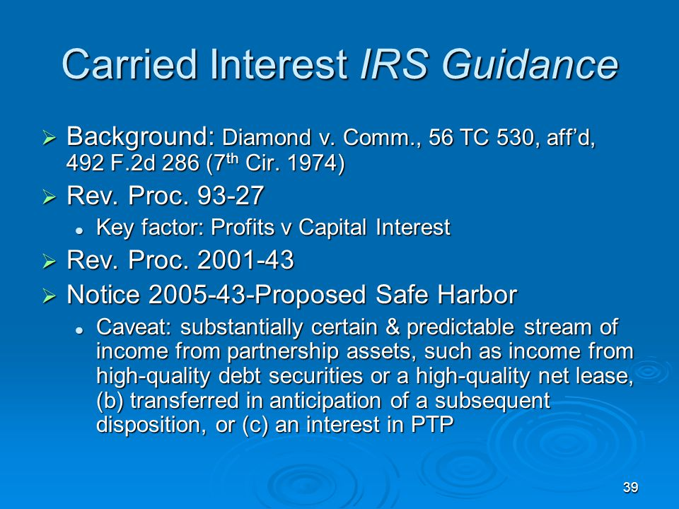 Carried Interest IRS Guidance