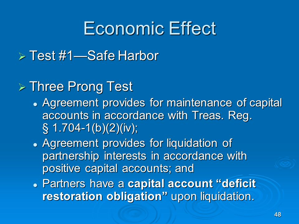 Economic Effect Test #1—Safe Harbor Three Prong Test