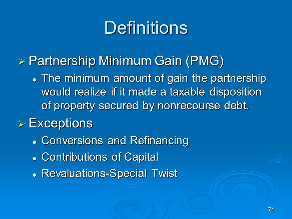 Definitions Partnership Minimum Gain (PMG) Exceptions