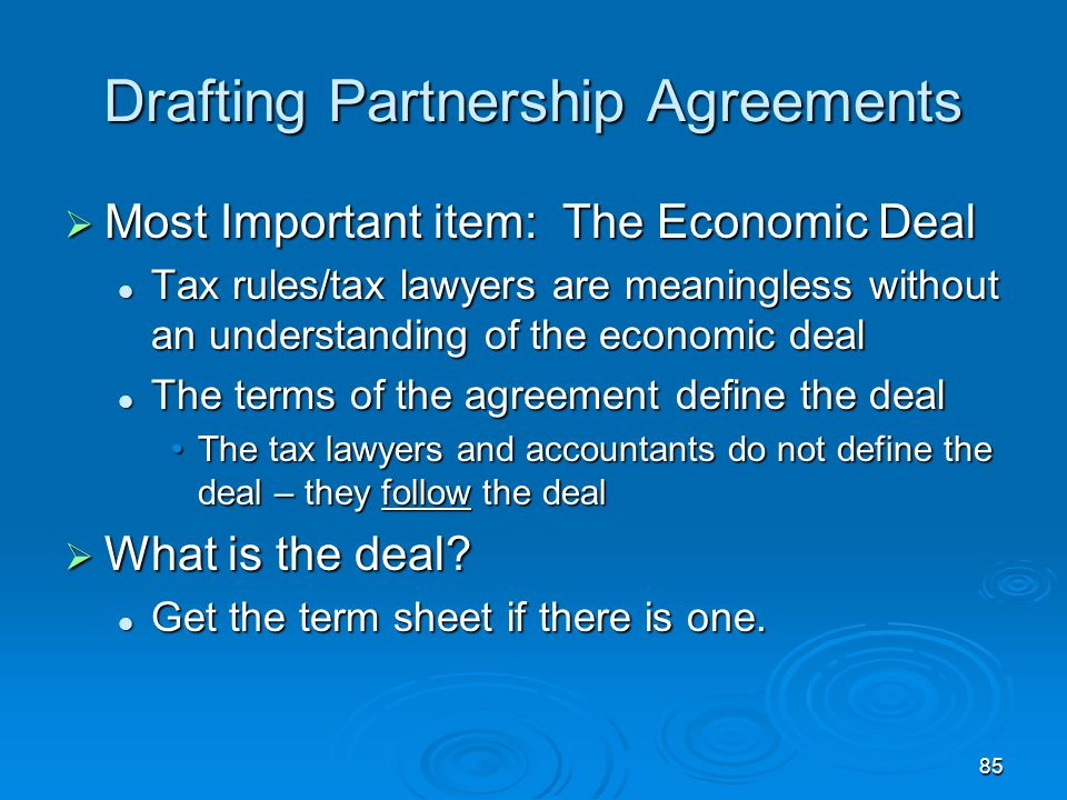 Drafting Partnership Agreements