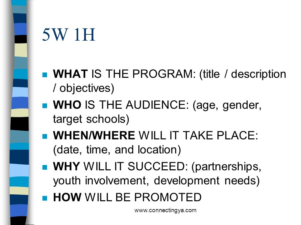 5W 1H WHAT IS THE PROGRAM: (title / description / objectives)