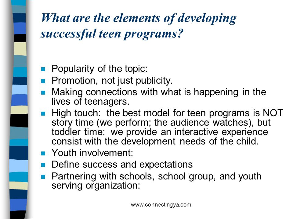 What are the elements of developing successful teen programs