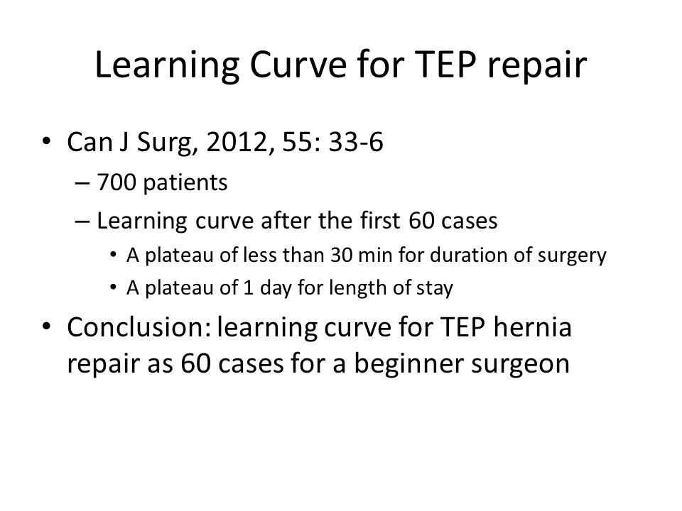 Learning Curve for TEP repair