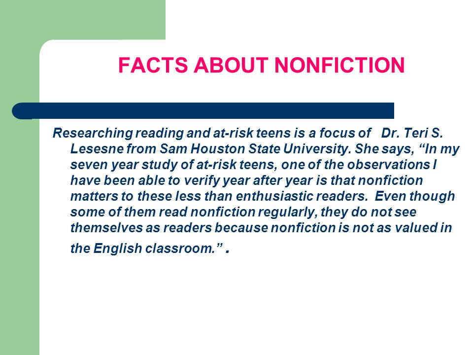 FACTS ABOUT NONFICTION
