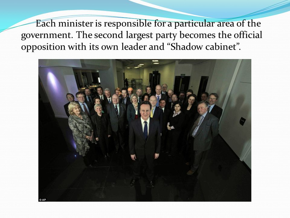 Each minister is responsible for a particular area of the government