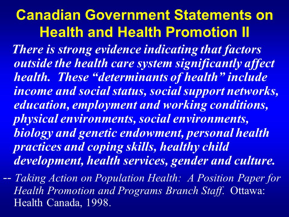 Canadian Government Statements on Health and Health Promotion II