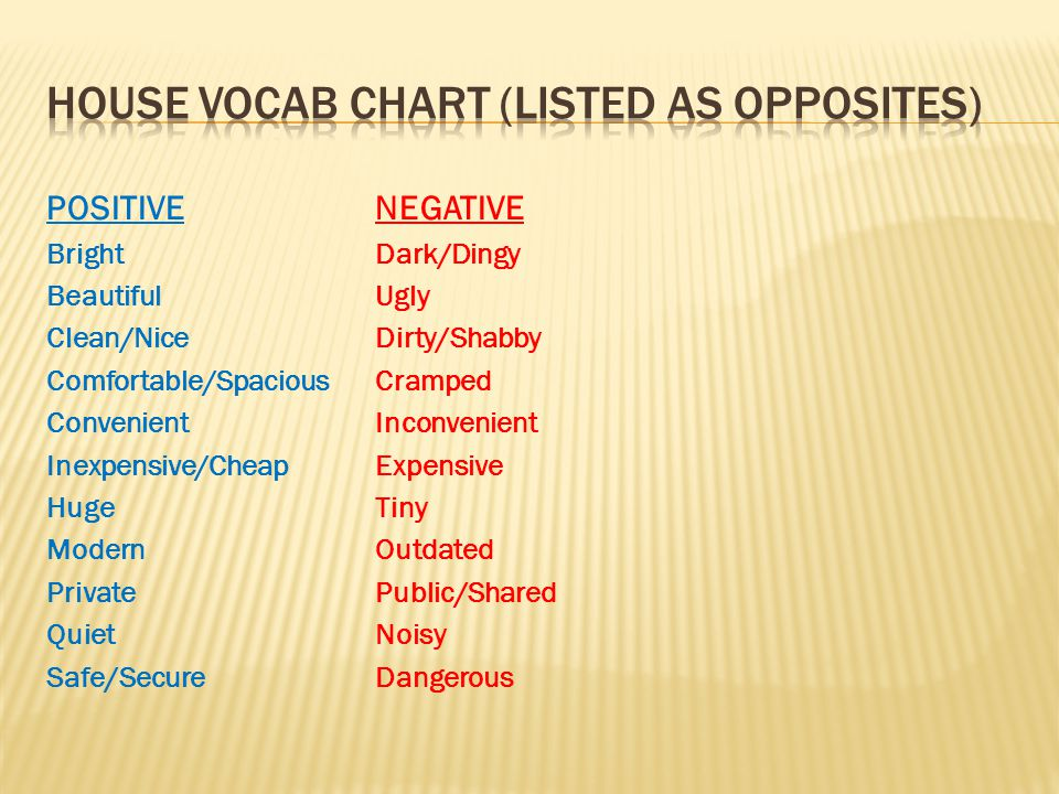 House vocab chart (listed as opposites)