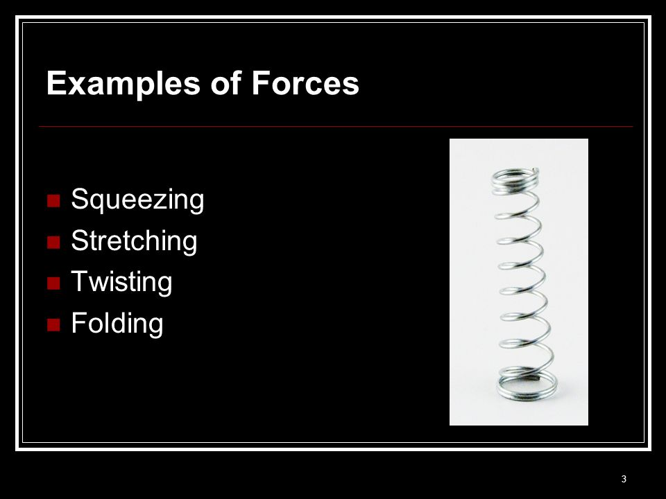 Examples of Forces Squeezing Stretching Twisting Folding