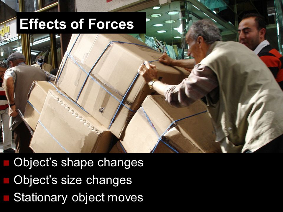 Effects of Forces Object's shape changes Object's size changes