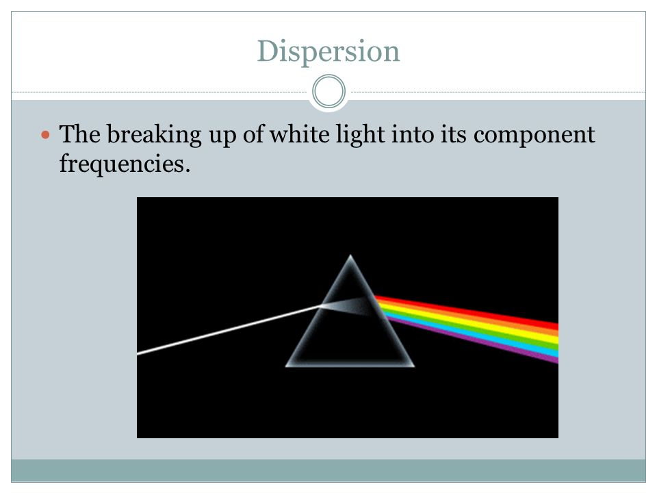 Dispersion The breaking up of white light into its component frequencies.