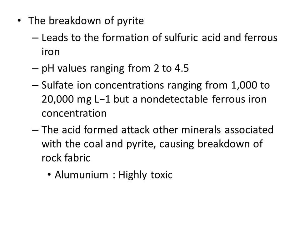 The breakdown of pyrite