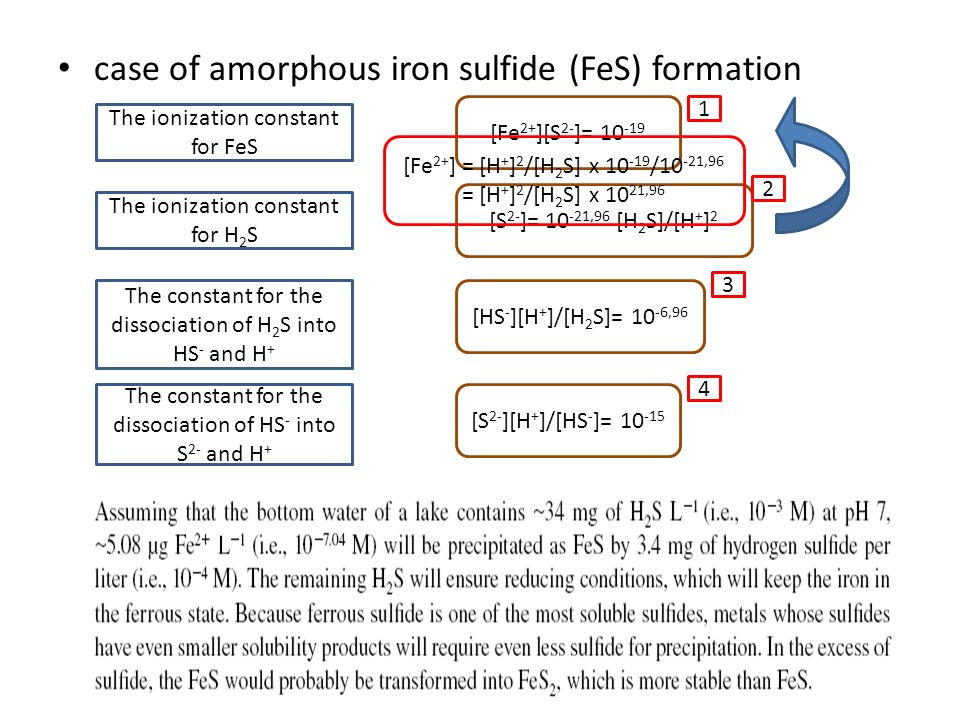 case of amorphous iron sulfide (FeS) formation