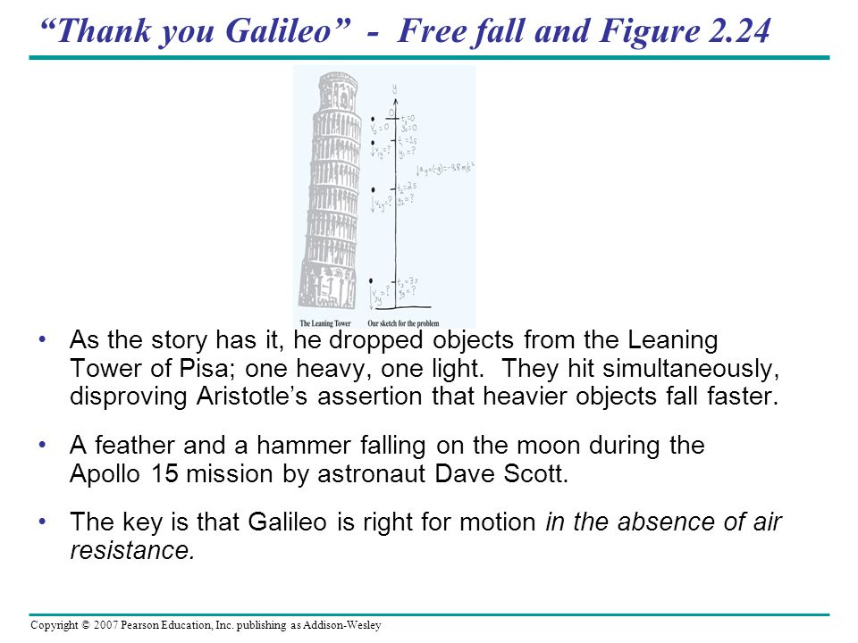 Thank you Galileo - Free fall and Figure 2.24