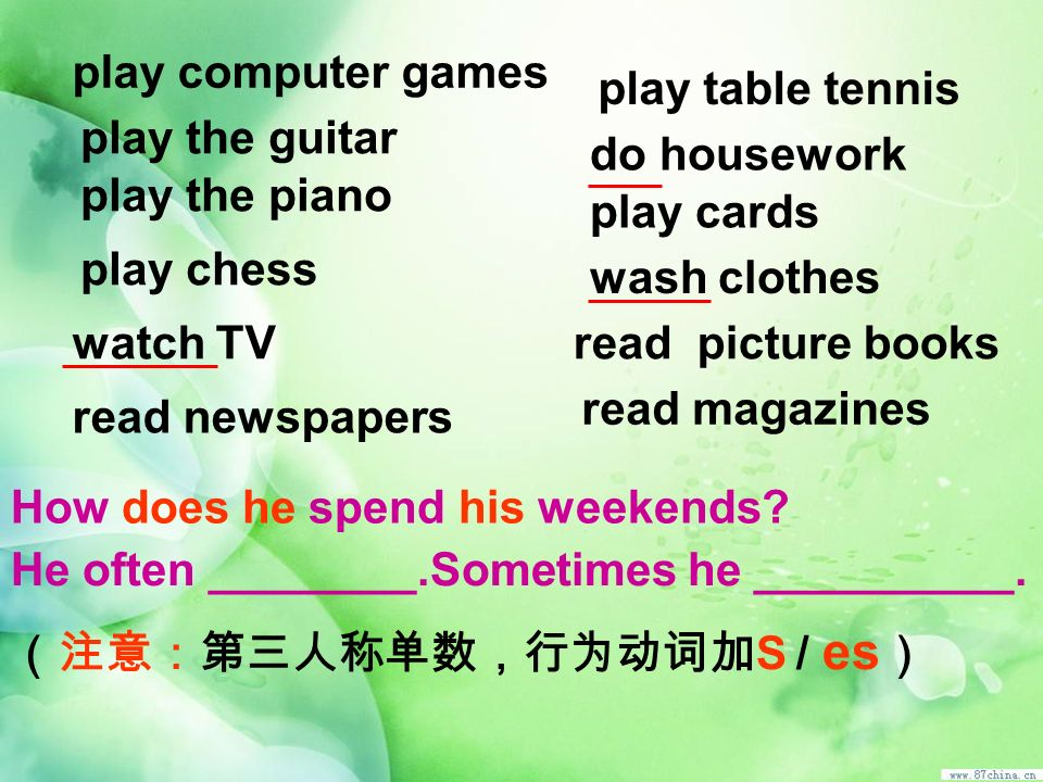 play computer games play table tennis. play the guitar. do housework. play the piano. play cards.
