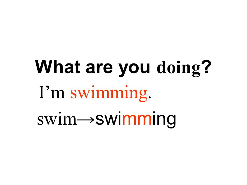 I'm swimming. swim→swimming