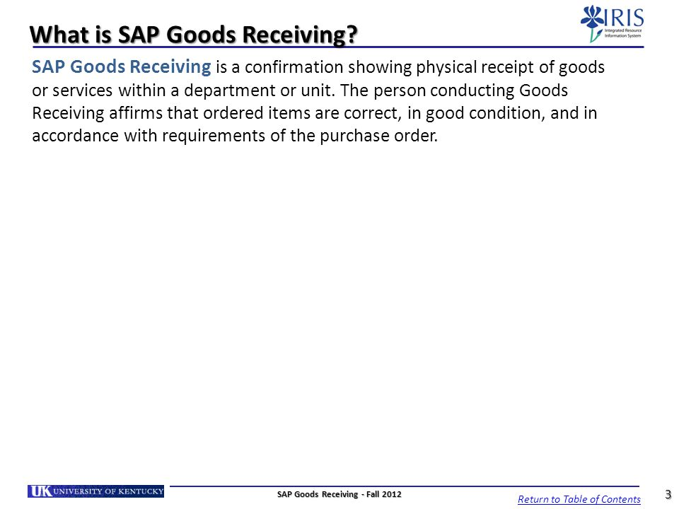 What Is Sap Goods Receiving