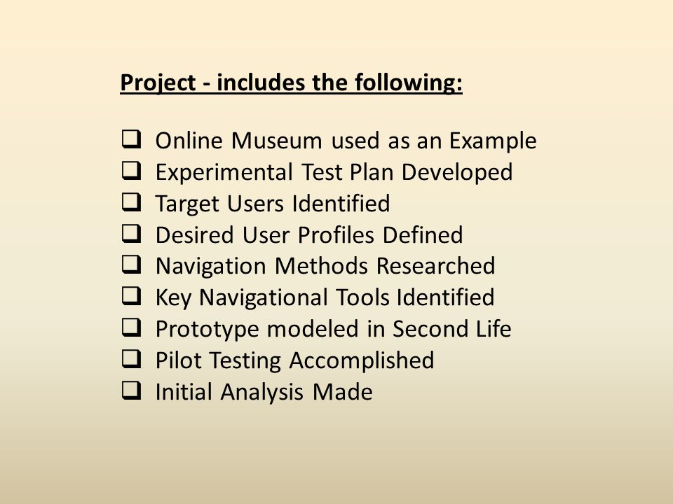Project - includes the following: