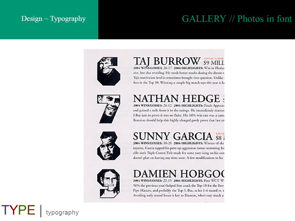 GALLERY // Photos in font