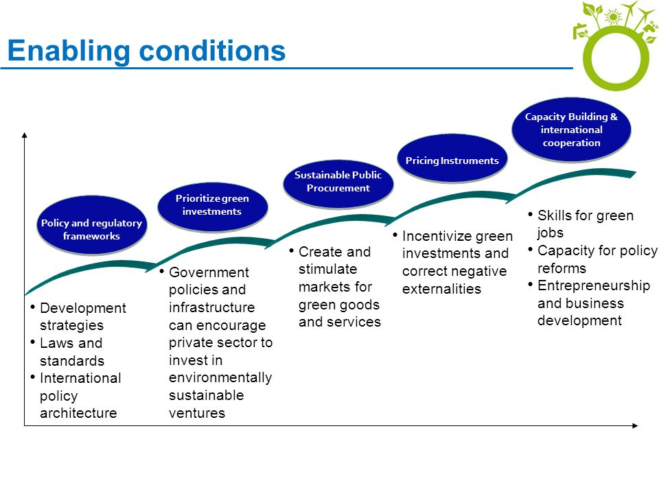 Enabling conditions Skills for green jobs Capacity for policy reforms