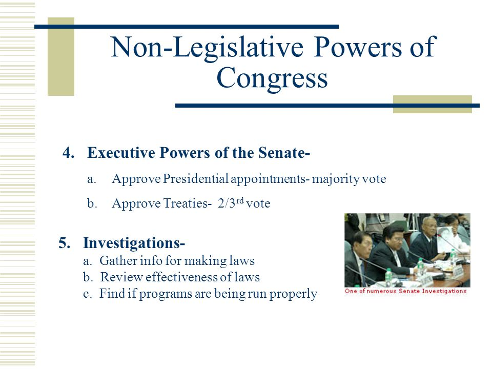 Non-Legislative Powers of Congress