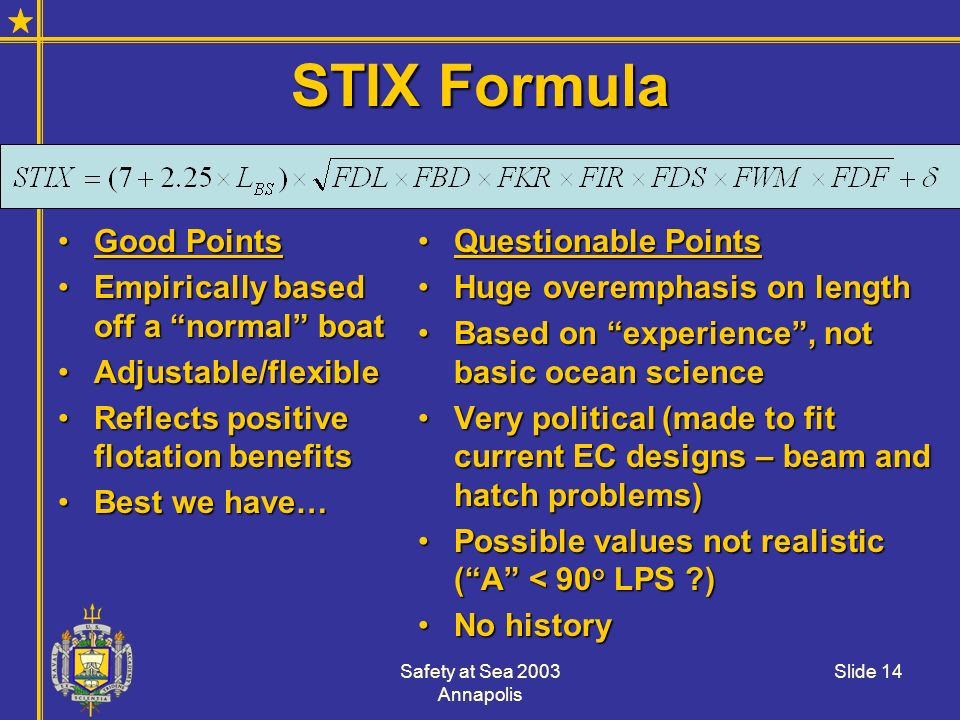 STIX Formula Good Points Empirically based off a normal boat