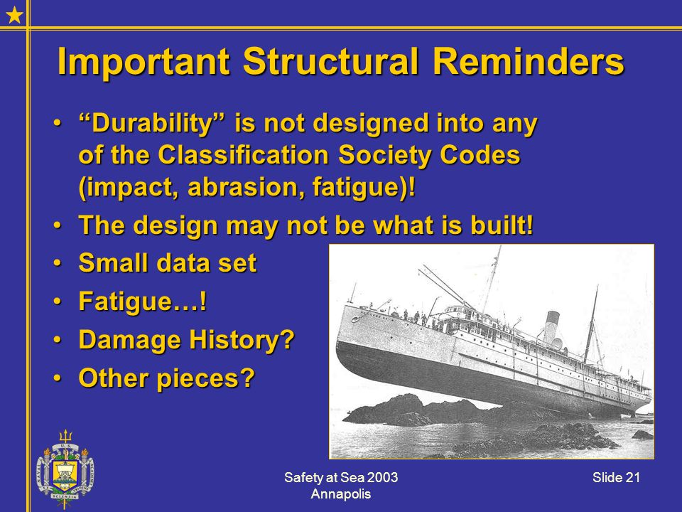 Important Structural Reminders