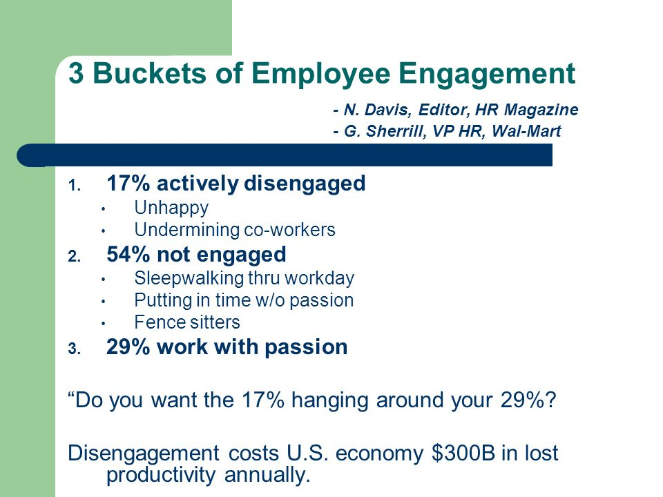 3 Buckets of Employee Engagement. - N. Davis, Editor, HR Magazine. - G