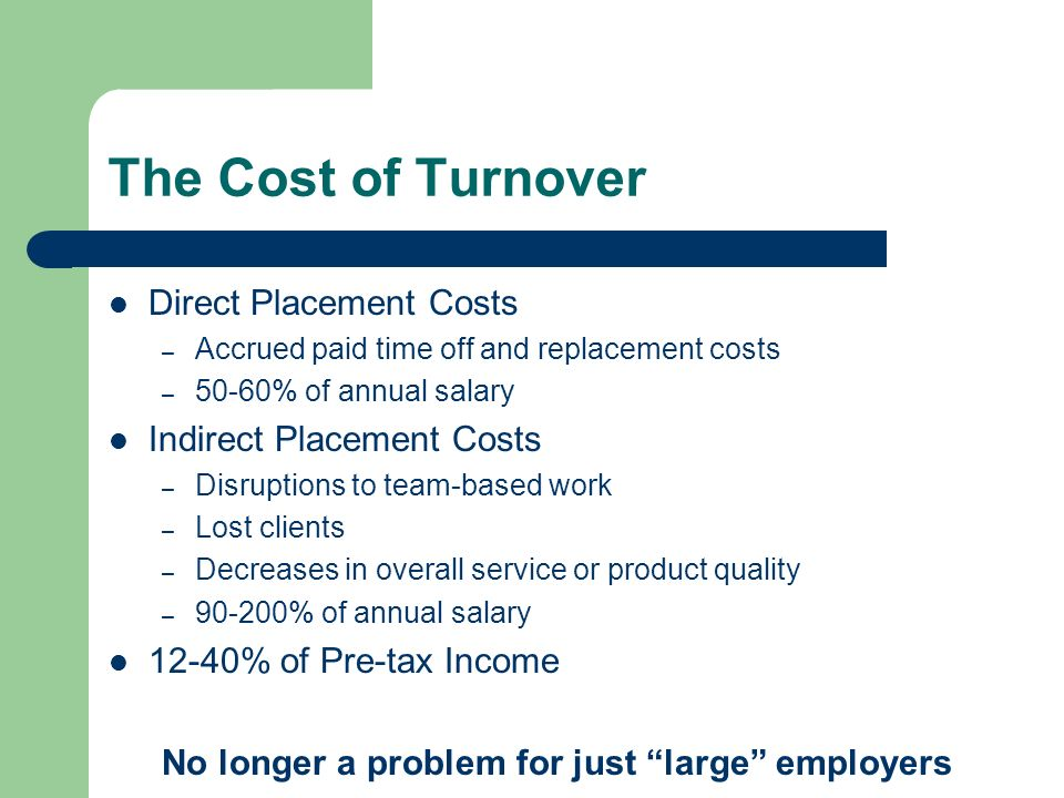 The Cost of Turnover Direct Placement Costs Indirect Placement Costs
