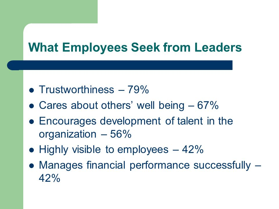 What Employees Seek from Leaders