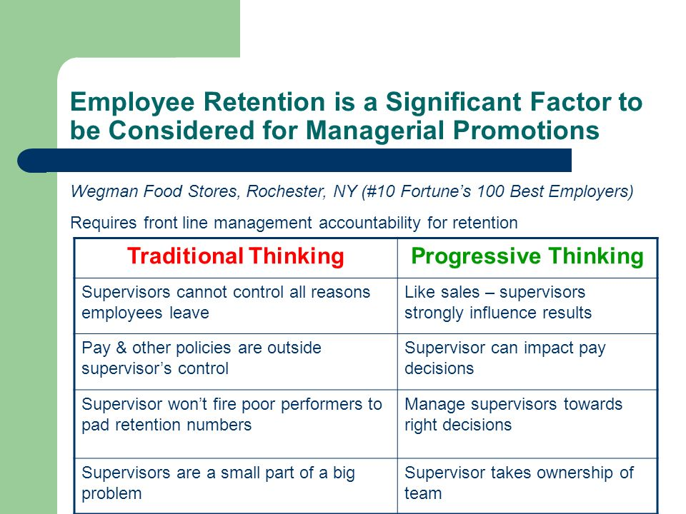 Employee Retention is a Significant Factor to be Considered for Managerial Promotions