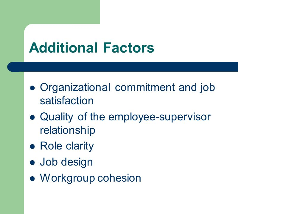 Additional Factors Organizational commitment and job satisfaction