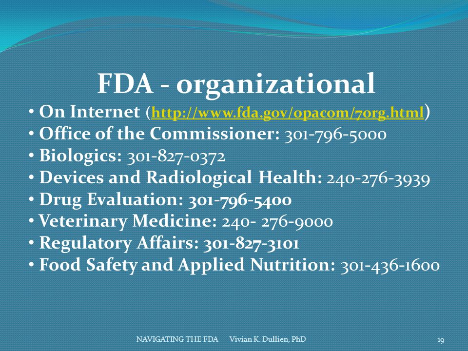 FDA - organizational On Internet (http://www.fda.gov/opacom/7org.html)