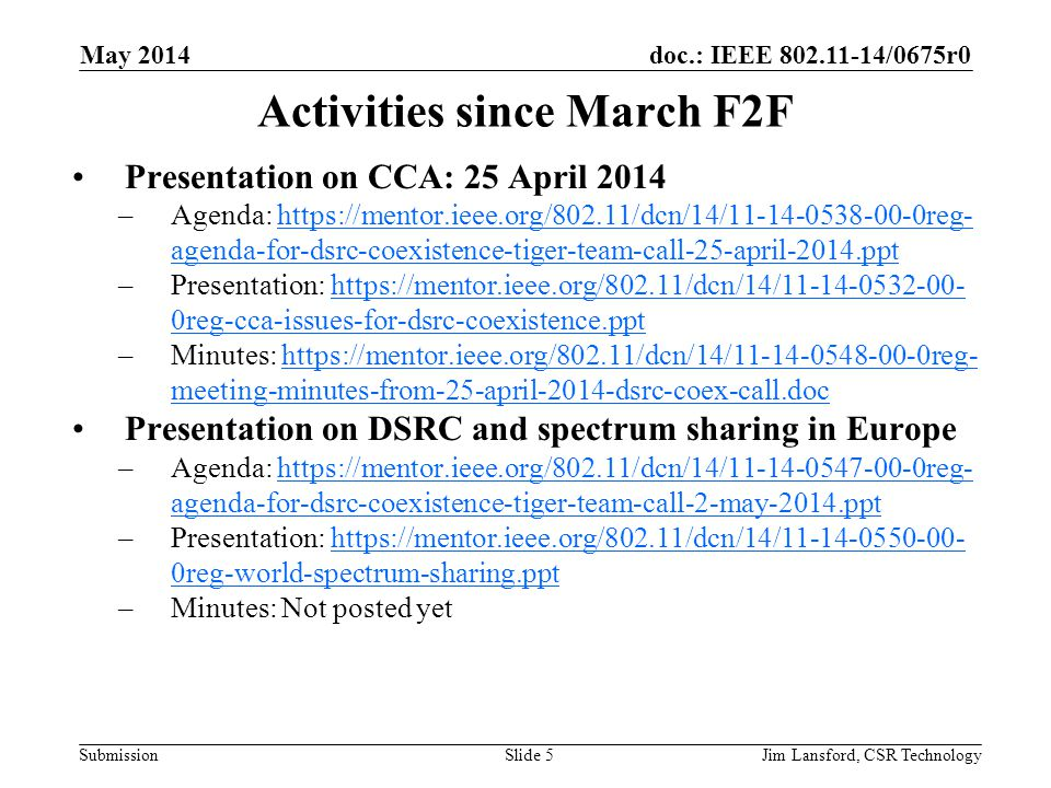 Activities since March F2F