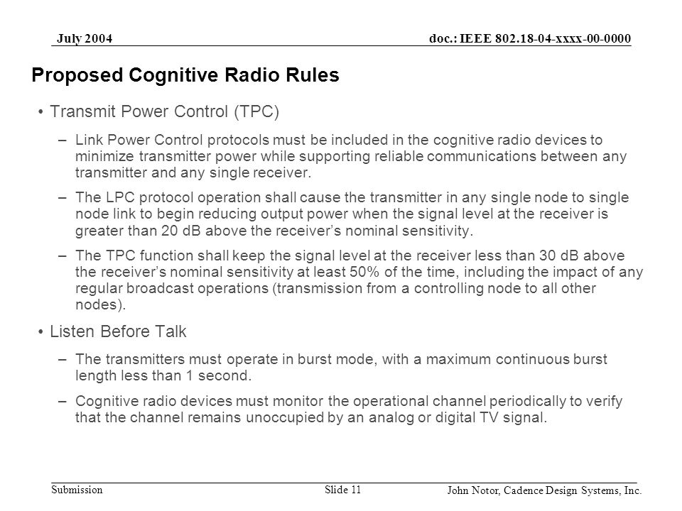 Proposed Cognitive Radio Rules