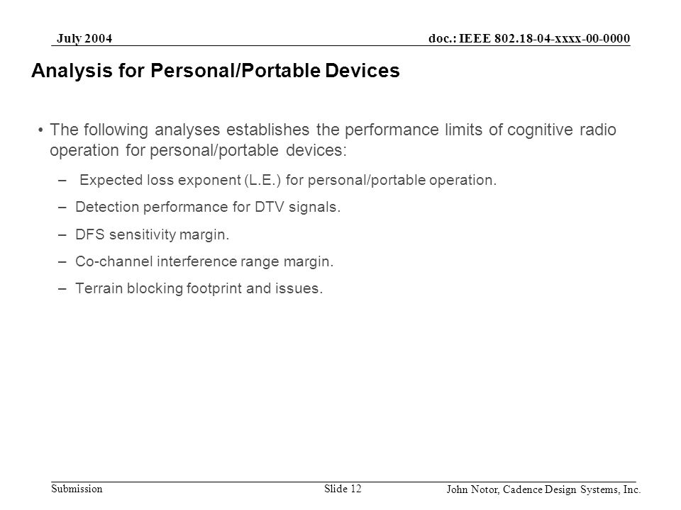 Analysis for Personal/Portable Devices