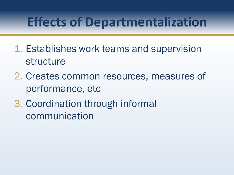 Effects of Departmentalization