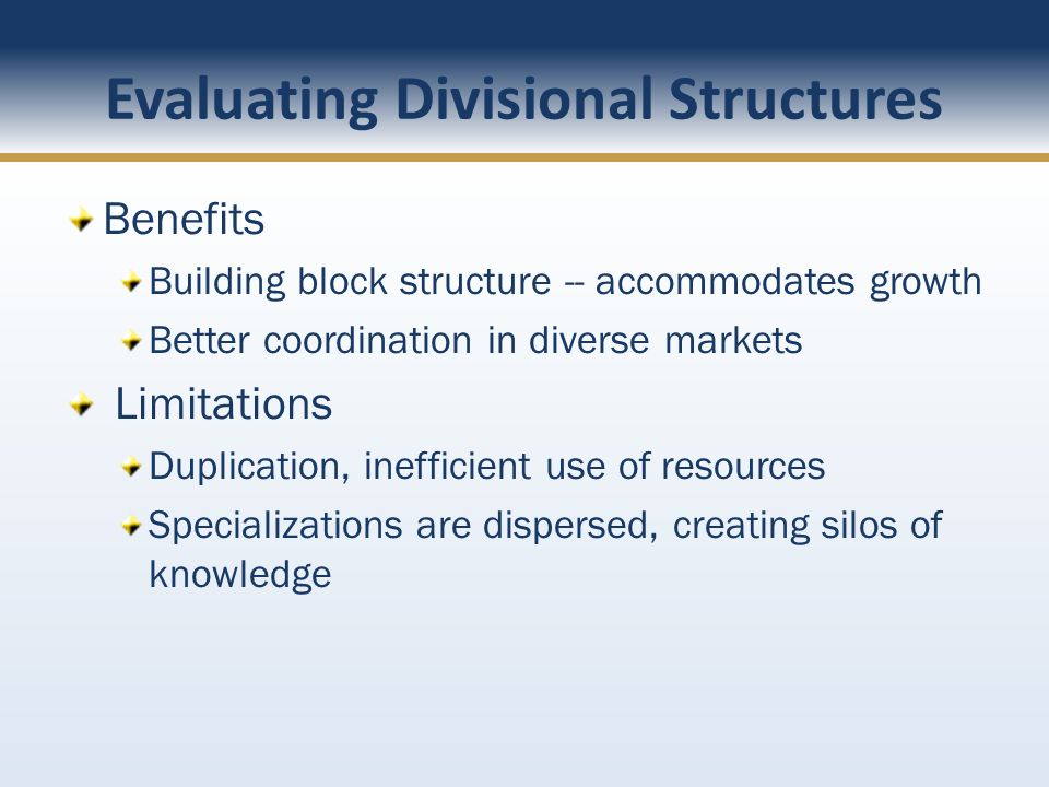 Evaluating Divisional Structures