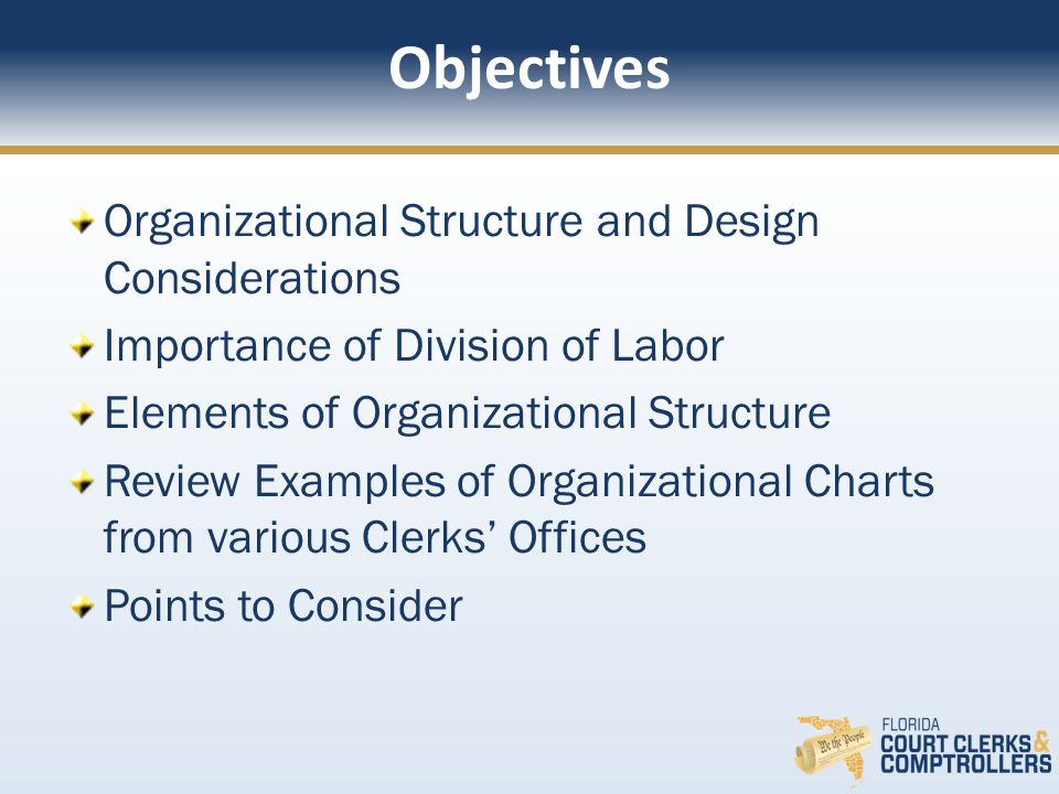 Objectives Organizational Structure and Design Considerations
