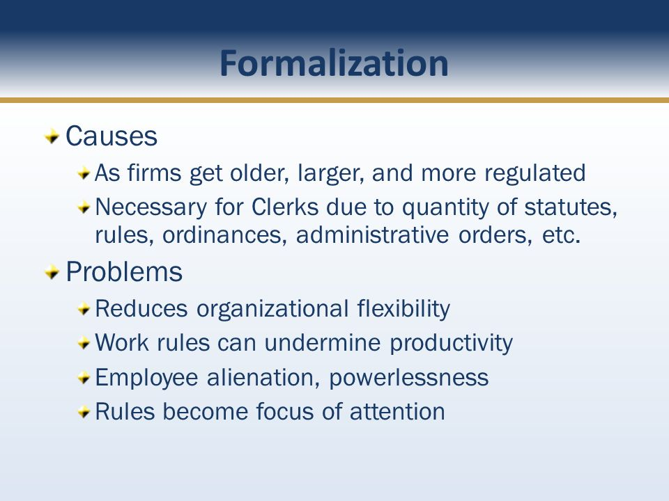 Formalization Causes Problems