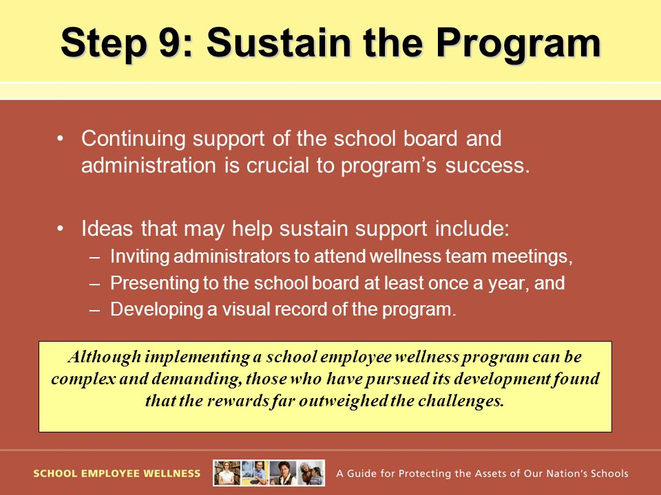 Step 9: Sustain the Program