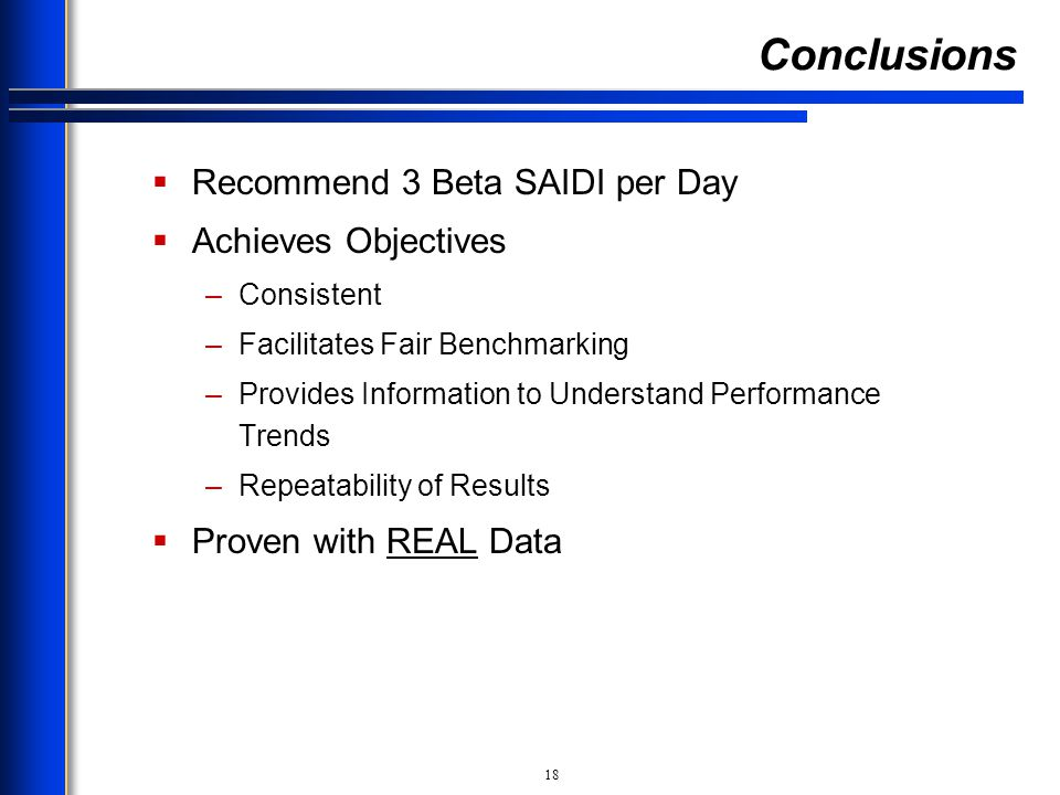 Conclusions Recommend 3 Beta SAIDI per Day Achieves Objectives