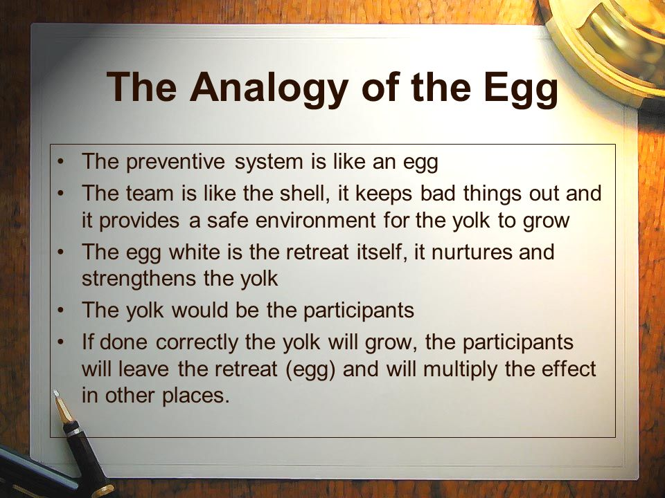 The Analogy of the Egg The preventive system is like an egg