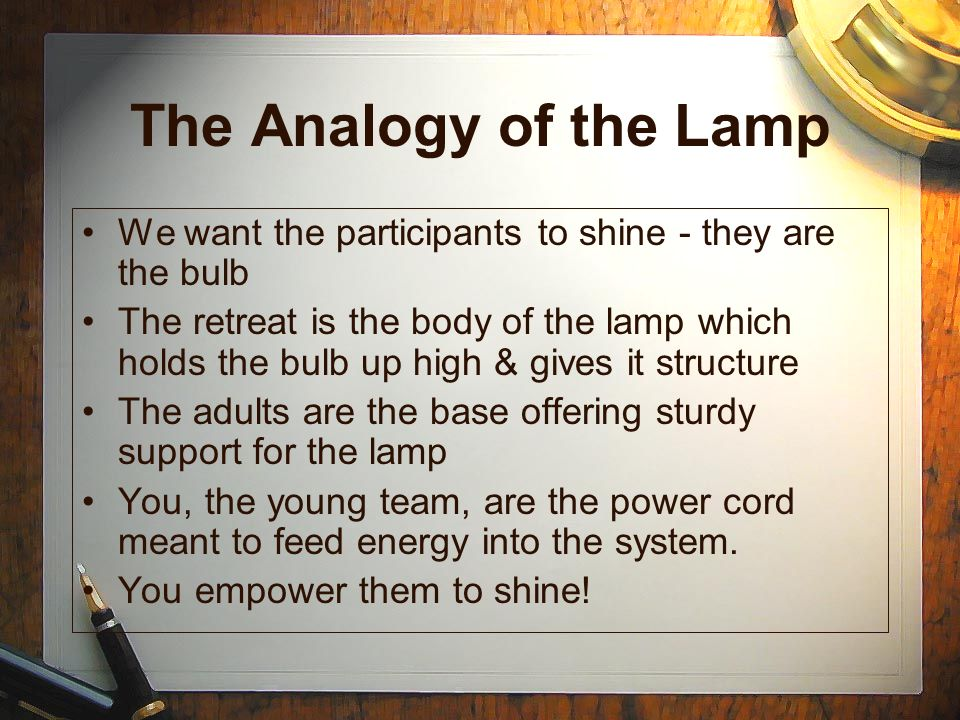 The Analogy of the Lamp We want the participants to shine - they are the bulb.
